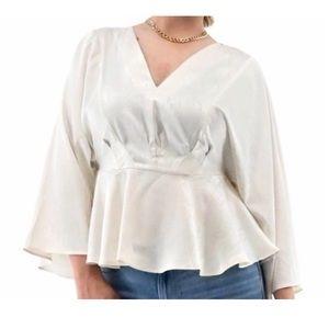 Andrew Marc ivory dolman blouse xl
